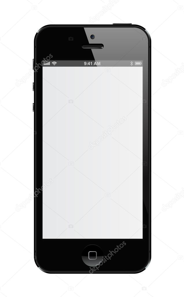Realist illustration of the black iPhone 5 (Isolated) — Stock Vector #12807165