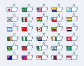 Thumb up flags — Stock Vector