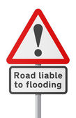 English road sing - Road liable to Flooding — Stock Vector