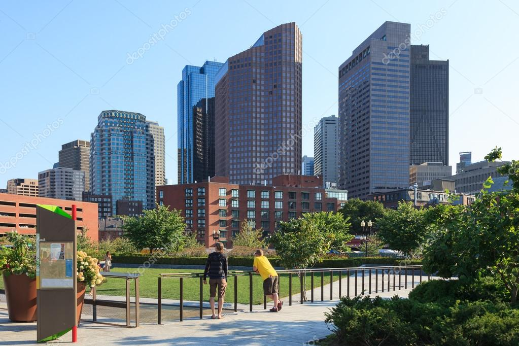 Skyline of the financial district of Boston, Massachusetts - USA — Stock Photo #12663146