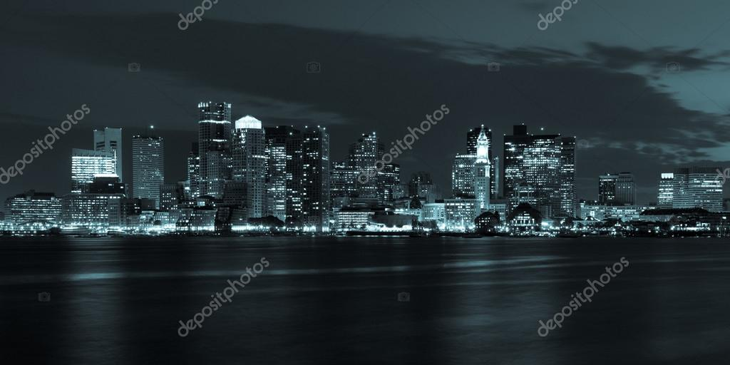 Boston skyline by night from East Boston, Massachusetts - USA — Stock Photo #12663148