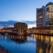 Boston waterfront by night — Stock Photo