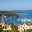 View of Porquerolles island marina in France - Stock Photo