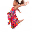 Portrait of Young African Asian girl jumping — Stock Photo #14550343