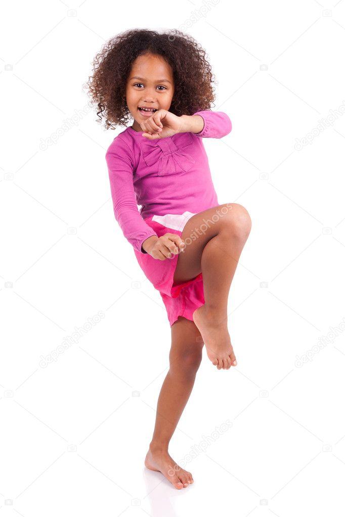 Little muay thai boxing girl using her knee stock photo for Tiny thai teen