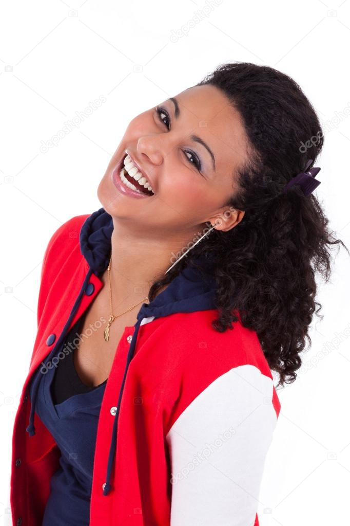 Young African American teenage girl laughing, isolated on white background — Stock Photo #15966293