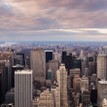 New York City - Manhattan skyline aerial view at sunset — Stock Photo #17439207