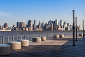 New York - Manhattan skyline view from Hoboken waterfront — Stock Photo