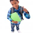 Little african american boy making thumbs up sign — Stock Photo