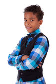 Portrait of a cute african american little boy with folded arms — Stock Photo
