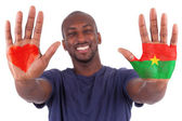 African man hands with a painted heart and burkinabe flag, i lov — Stock Photo