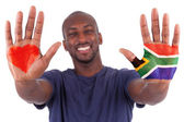 African man hands with a painted heart and south african flag, i — Stock Photo