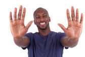 Young African American man his hands palm — Stock Photo