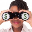 Young black african american business woman using binoculars — Stock Photo