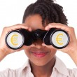 Young black african american business woman using binoculars — Stock Photo #23704311