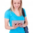 Постер, плакат: Young caucasian student girl using a tactile tablet Caucasian