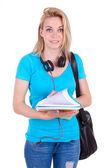Kitaplar - tutan genç bir beyaz öğrenci kız beyaz — Stok fotoğraf