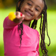 Outdoor portrait of a cute young black girl - African — Stock Photo