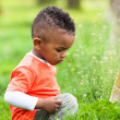 Outdoor portrait of a cute young little black boy playing outsi — Stock Photo #25087245