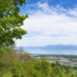 Panoramic view of the Leman Lake from Signal de Bougy park — Stock Photo