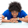 Young african american student reading books - African — Stock Photo #25489215