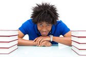 Young african american student reading books - African — Stock Photo