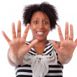 Young black woman showing her hands palm - African — Stock Photo