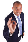 African American business man making ok gesture with the hand - — Stock Photo
