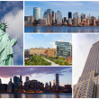 Stock Photo: New york city famous landmarks picture collage - USA