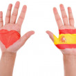 Hands with a painted heart and spanish flag, i love spain concep — Stock Photo #28963737