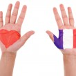Hands with a painted heart and french flag, i love france concep — Stock Photo #28963789