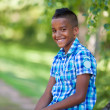 Outdoor portrait of a cute teenage black boy - African people — 图库照片