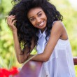 Outdoor portrait of a teenage black girl - African people — Stock Photo