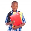 African American school boy, holding folders - Black people — Stock Photo #30984097
