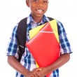 African American school boy, holding folders - Black people — Stock Photo