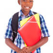 Stock Photo: African American school boy, holding folders - Black people
