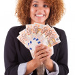 Young african american business woman holding euro bills - Afric — Stock Photo #31863669