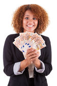 Young african american business woman holding euro bills - Afric — Stock Photo