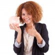 Young african american business woman holding a piggy bank - Afr — Stock Photo #32034991