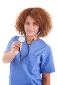 African American nurse holding a stethoscope - Black people — Stock Photo