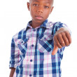 African American boy making thumbs down - Black people — Stock Photo
