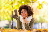 Autumn outdoor portrait of beautiful African American young woma — Stock Photo