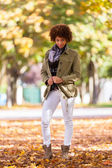 Autumn outdoor portrait of beautiful African American young woma — Стоковое фото
