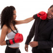 Young black woman fighting with her boyfriend - Black people — Stock Photo