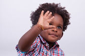 Outdoor portrait of a little african american boy - Black - chil — Stock Photo