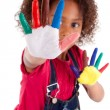 Little African Asian girl with hands painted — Stock Photo #43073399