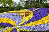 Beautiful and colorful floral clock in geneva switzerland - Swis — Stock Photo