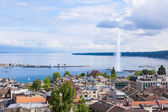 View of Geneva water fountain from the Saint-Pierre cathedral -  — Zdjęcie stockowe