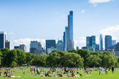 People resting in central park - New York - USA — Stock Photo
