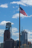 American flag stars and stripes  floating in front of the  - Phi — Stock Photo